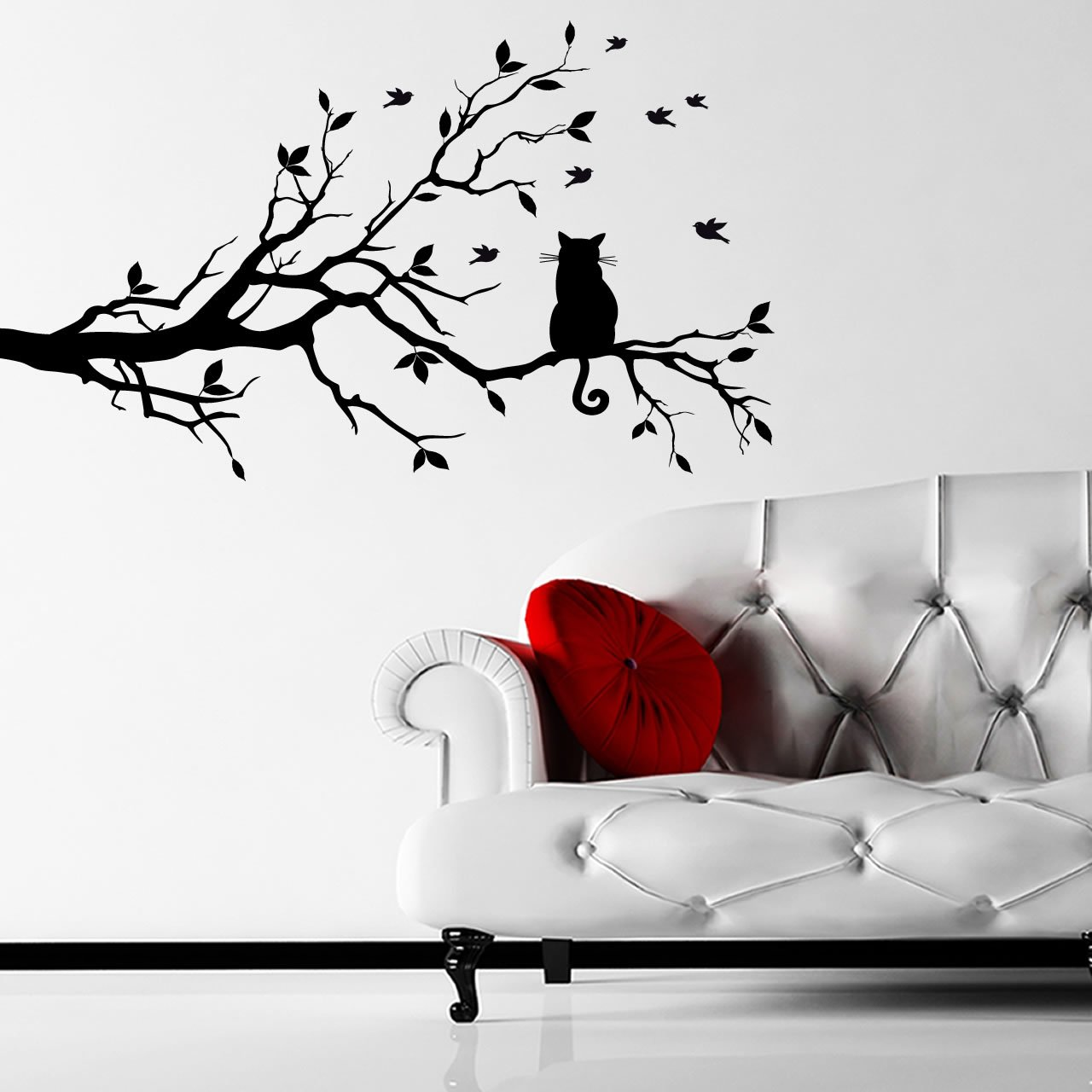 Cat On A Branch Animal Wall Sticker World of Wall Stickers