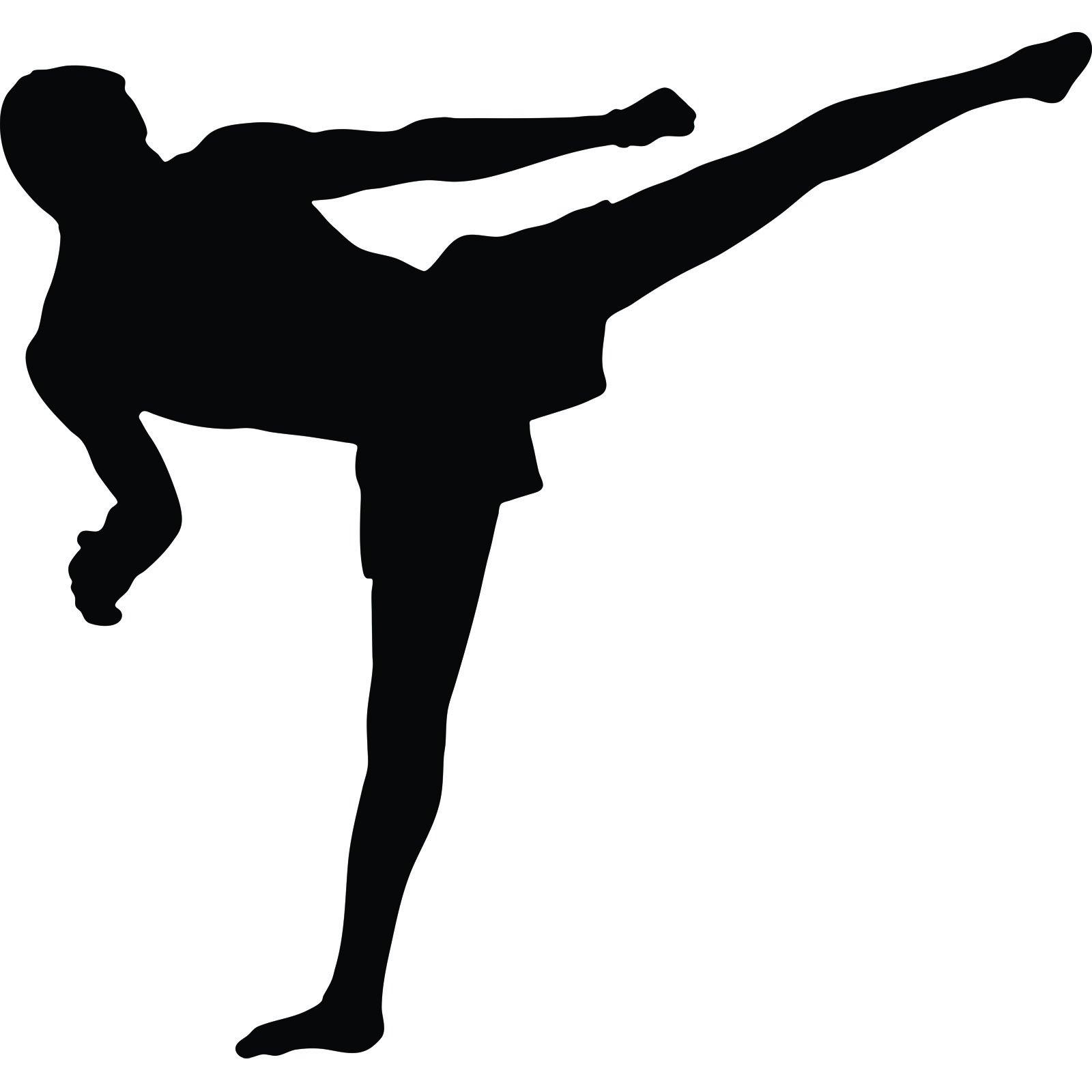 Kickboxer Silhouette Martial arts flying kick muay thai kickboxing